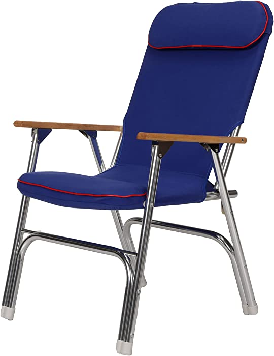 Seachoice 78511 High-Back Canvas Folding Chair – Blue with Red Trim – Folds for Easy Storage, Blue/Red