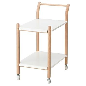 IKEA PS 2017 - Mesa auxiliar con ruedas de haya / blanco: Amazon.es: Hogar