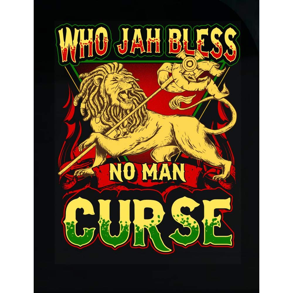 Amazon com rastafarian gifts who jah bless no man curse rasta lion of judah transparent sticker home kitchen