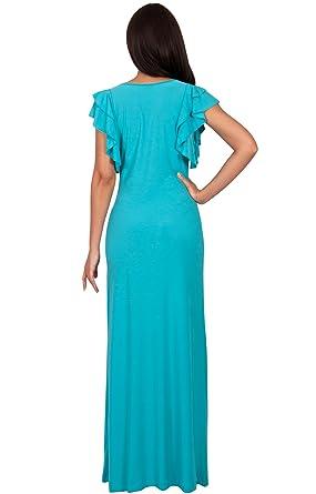 KOH KOH® Damen Ausschnitt Kürze Flügelärmel Maxikleid Elegante Lange Kleid  Verziert: Amazon.de: Bekleidung