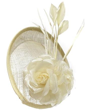 a172598e9972a Cream Ivory Disc Saucer Sinamay Fascinator on Headband Wedding Royal Ascot  Races Hatinator