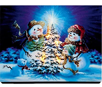Christmas Led Canvas.Led Christmas Canvas Scene Battery Operated Light Up Canvas Snowman Landscape Snowman Family