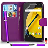 Motorola Moto E 2nd Gen Premium Leather Dark Purple Wallet Flip Case Cover Pouch + 2 IN 1 Ball Pen Touch Stylus Pen + RED 2 IN 1 Dust Stopper + Screen Protector & Polishing Cloth SVL6 BY SHUKAN®, (WALLET DARK PURPLE)
