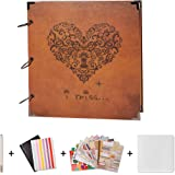 SiCoHome Scrapbook,Scrapbooking with Scrapbook Storage Box,Supplies and Sheet Protectors,Heart Printed Surface