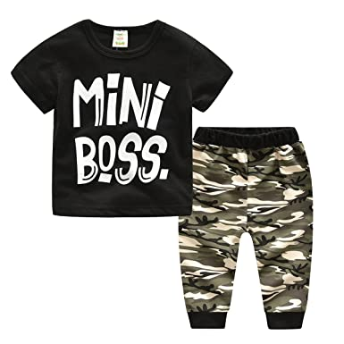 891f7c138 Infant Baby Boys Mini Boss Tshirt Camouflage Pants Outfits Clothes Set