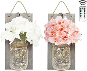 2 Pack Mason Jar Wall Sconces Remote Control with 30 LED Fairy String Lights, Hydrangea Flowers and Wooden Board, Decorative Jars for Wall Decor, Door Decor (Grey)