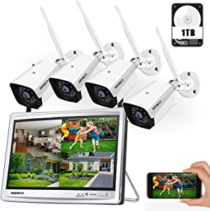 [Audio Recording] SANSCO 8CH 1080P Expandable Wireless CCTV Camera Security System with 1TB HDD, 12in HD Monitor, (4) Outdoor WiFi Surveillance Cameras with Night Vision, Waterproof, Motion Detection