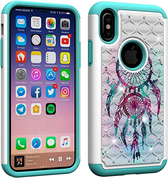 Compatible iPhone XR Shell for Women,Pink Love Print and Diamond Pattern,Silicone Material Full Edge Design for Falling Protection,Applicable to iPhone XR Series!Diamond Pink Love!