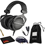 Beyerdynamic DT 770 Pro 32 Ohm Closed-Back Studio Recording Headphones Bundle -Includes- Soft Case, Headphone Splitter and Extension Cable, and 6AVE Cleaning Cloth