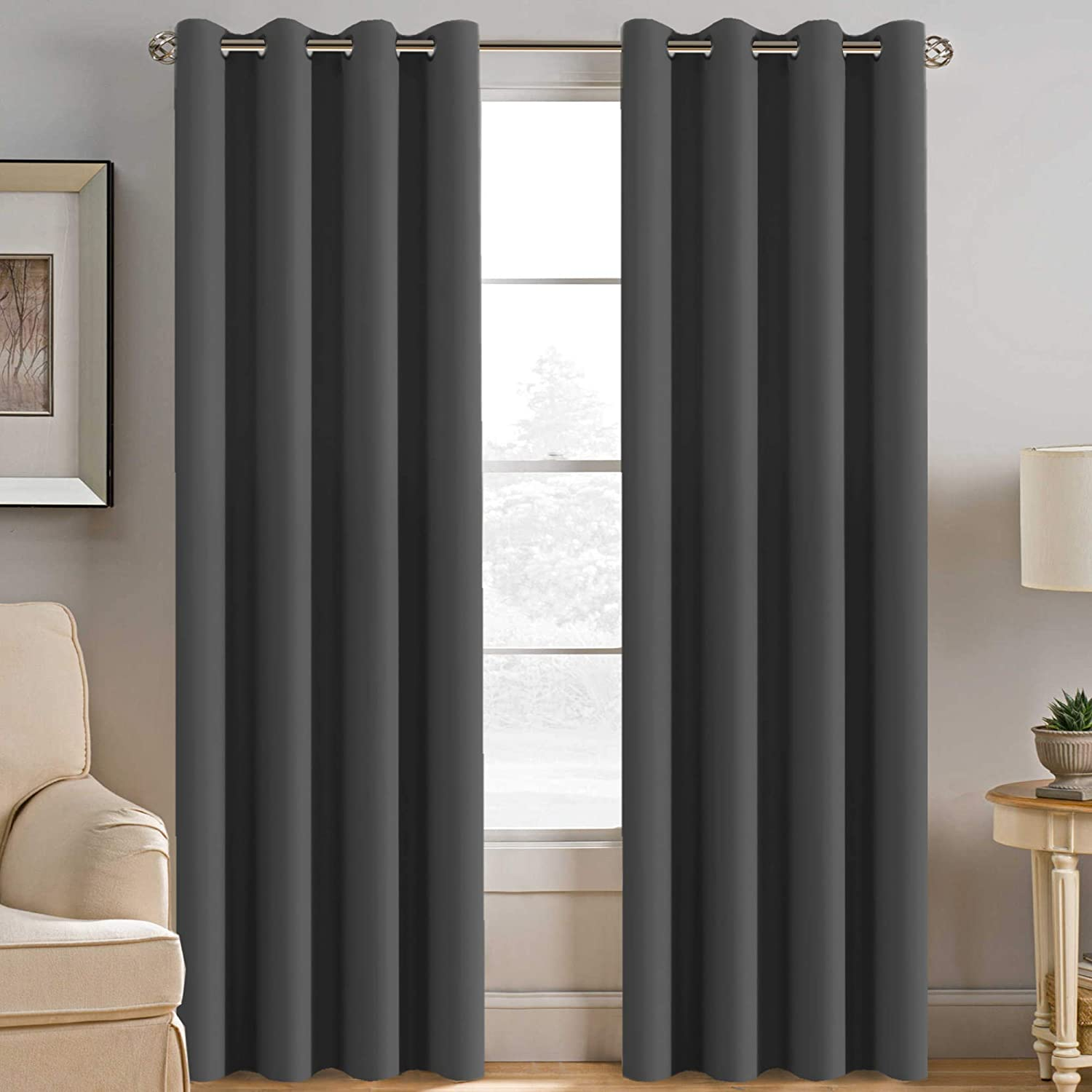 Microfiber Blackout Grey Curtains for Patio Door Thermal Insulated Living Room Curtains 96 Inch Long, Room Darkening Noise Reducing Blackout Curtain for Bedroom/Living Room, Charcoal Gray (1 Panel)