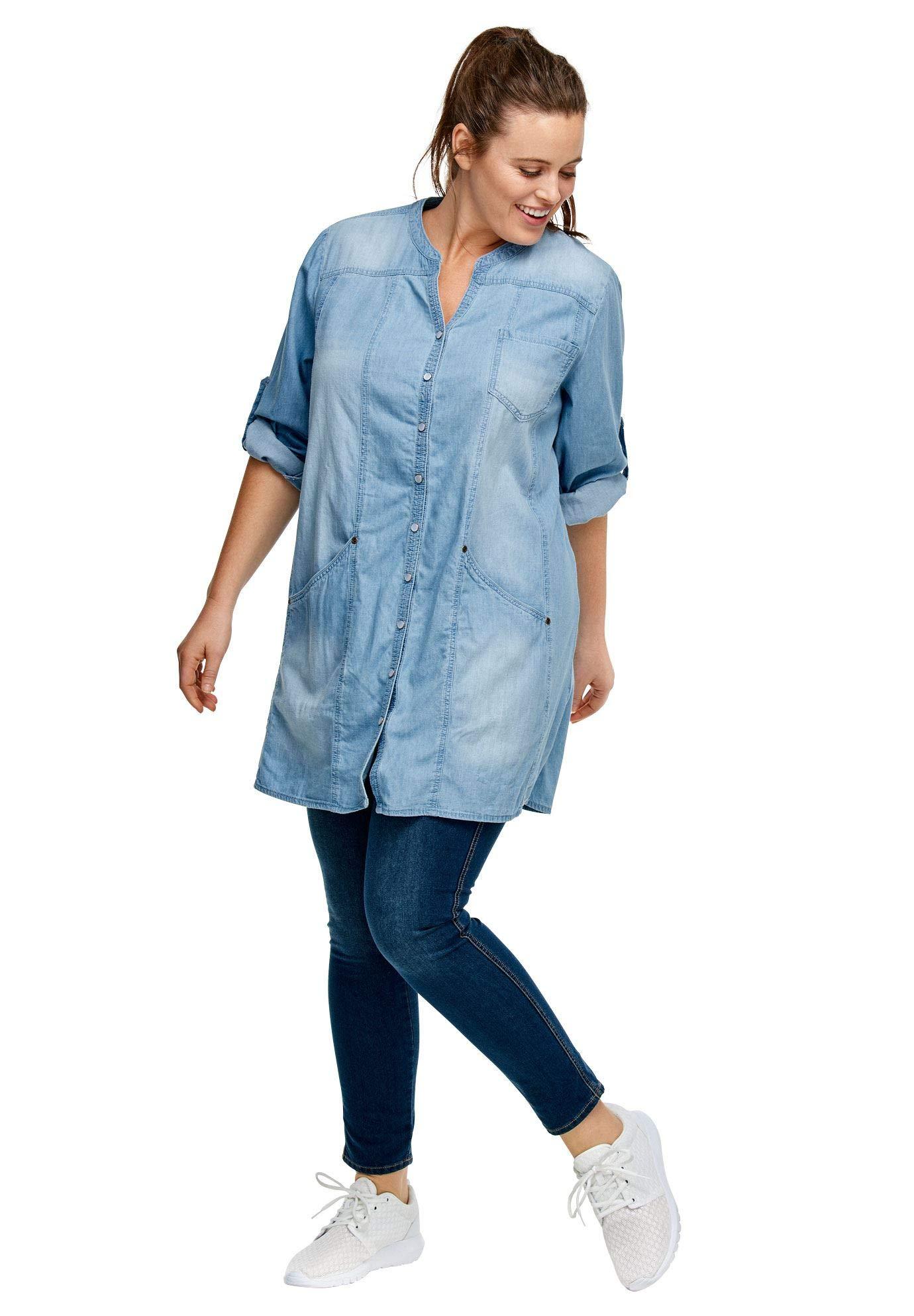 95288127d81 Ellos Women s Plus Size Snap Front Denim Tunic - Denim Fit