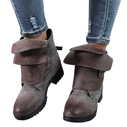 ZHRUI Zapatos de Roma para Mujeres, Moda para Mujer Gladiador Botines de Tobillo Cepillado Cuero