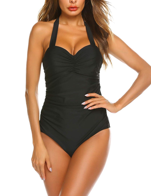Avidlove Women Swimsuits One Piece Monokini Push Up Swimwear Halter Bathing Suit