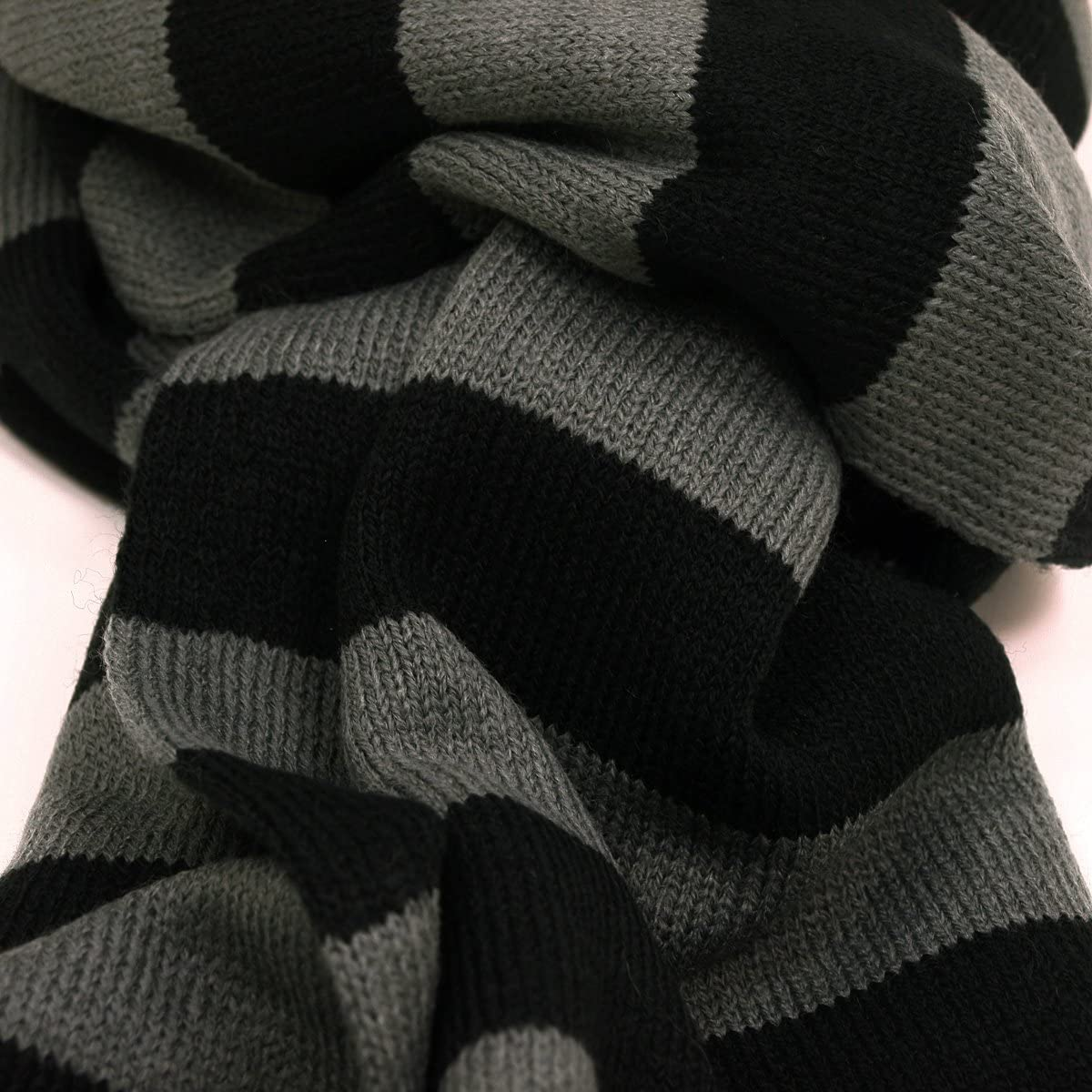 TrendsBlue Premium Soft Knit Striped Scarf, Gray & Black at  Women's Clothing store