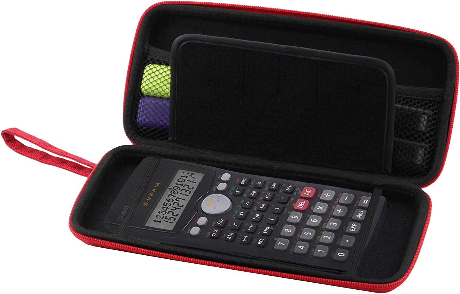 Navitech Red Graphics Calculator Hard Case/Cover with Storage Pouch Compatible with The Texas Instruments HP 50G