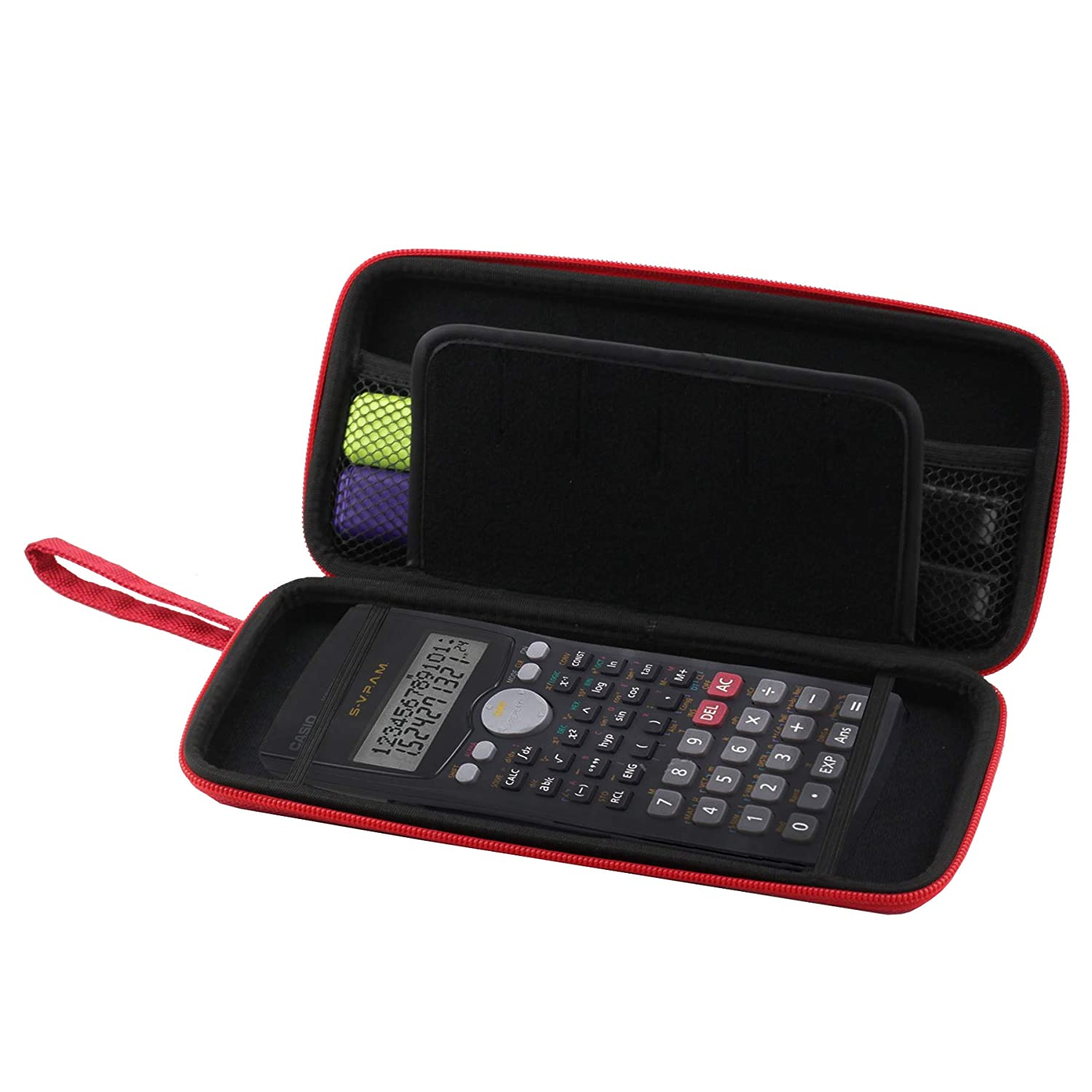 Navitech Red Graphics Calculator Hard Case/Cover with Storage Pouch Compatible with The Casio FX-9860G-LB-EH