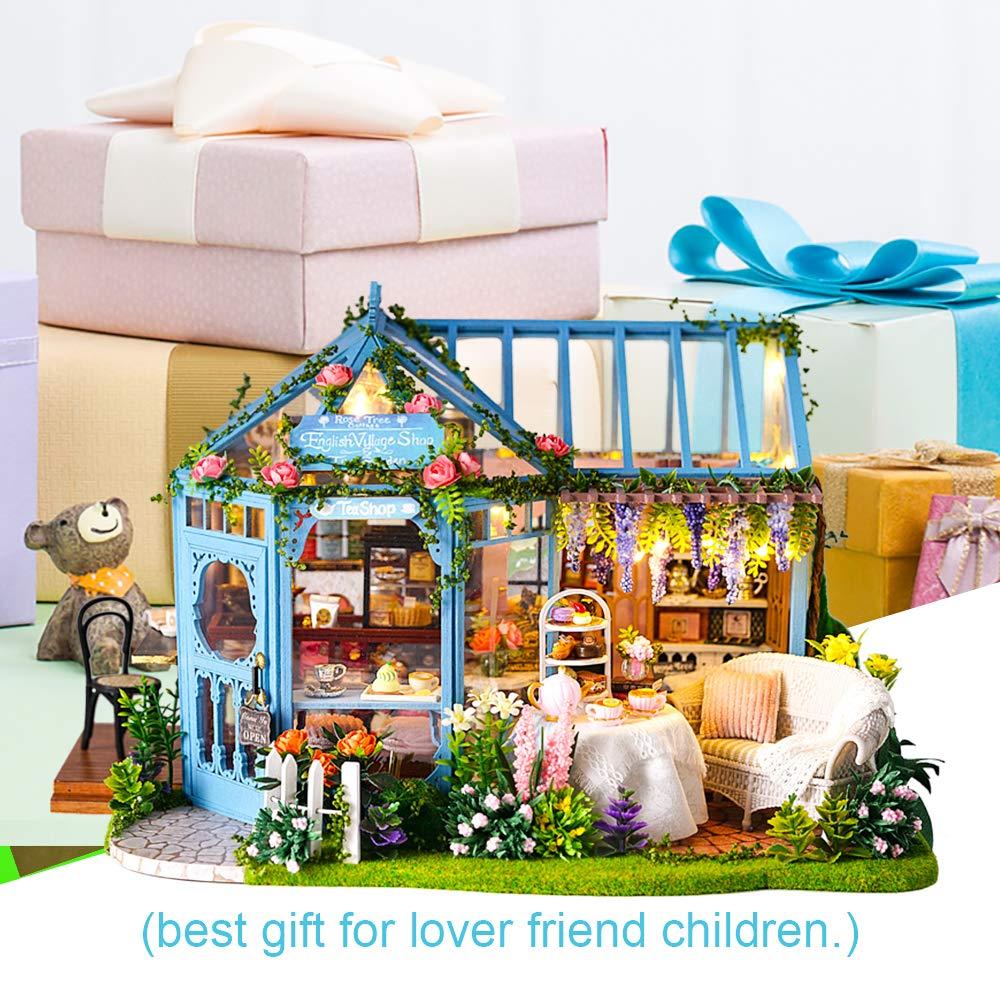 Multicolore CUTEBEE Miniatura casa delle Bambole con mobili Fai da Te Kit di Dollhouse di Legno in Scala 1:24 Spazio Creativo per Idea Regalo San Valentino
