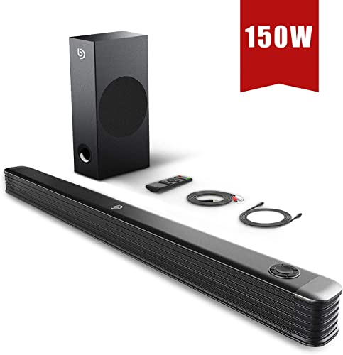 BOMAKER Sound Bar, 150W Soundbar with Wireless Subwoofer, 2.1 Channel Sound Bar for TV, 34 Inch Wired Wireless Bluetooth 5.0, Enhanced Bass Adjustment, Optical Coaxial Aux USB