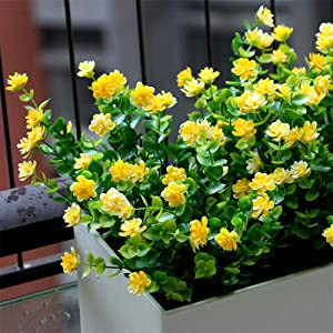 YXYQR Artificial Flowers Outdoor UV Resistant Fake Plastic Plants Outside Indoor Hanging Faux Greenery Shrubs Arrangement for Vase Porch Window Box Patio Wedding Home Decoration 4 Pack (Yellow)