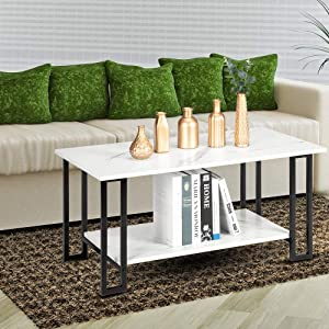 """Peitten 42"""" Modern Square Coffee Table   2 Layer Open Storage Shelf Leisure Desk with Metal Leg for Home Living Room Bedroom Lounge Office Waterproof (Coffee Table, 42"""" Square White- 2 Layer)"""