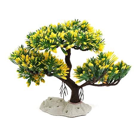Sourcingmap® Amarillo Verde Árbol De La Planta De Plástico Peces De ...