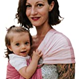 Luxury Ring Sling Baby Carrier – Extra-Soft Bamboo and Linen Fabric - Lightweight wrap - for Newborns, Infants and Toddlers - Perfect Baby Shower Gift - Nursing Cover (Pink Sunset)