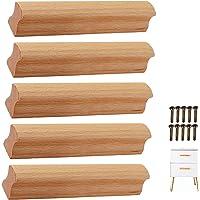 5 × schroef vaste greep eiken multi-size ladegreep massief hout kleur hout kleine handgreep meubelgreep houten deurgreep…
