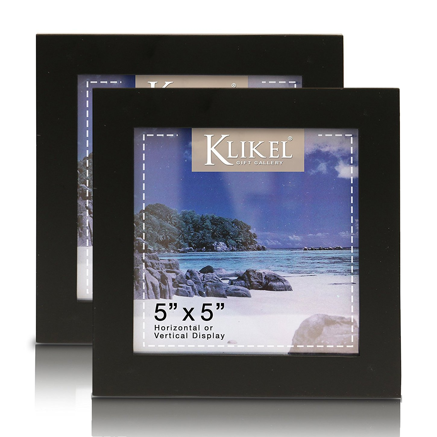 Klikel 5 X 5 Black Picture Frame | Set of 2 5x5 Black Wooden Photo Frame | Made of Real Wood with Glass Photo Protection | Wall Hanging and Table Standing Display by Klikel