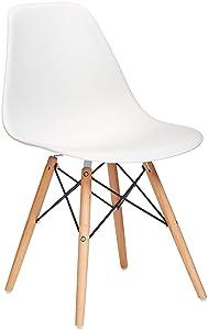 Phoenix Home Kenitra Contemporary Plastic Dining Chair, Bone White