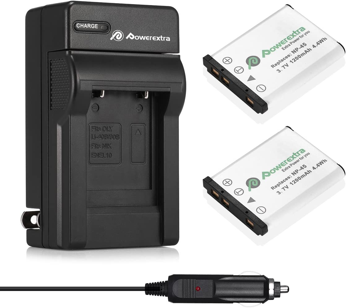 Powerextra 2x NP-45A NP-45B NP-45S Battery & Charger Compatible with Fujifilm INSTAX Mini 90 Fujifilm FinePix XP140 XP130 XP120 XP90 XP80 XP70 XP60 XP50 XP30 XP20 T560 T550 T510 T500 T400 T360