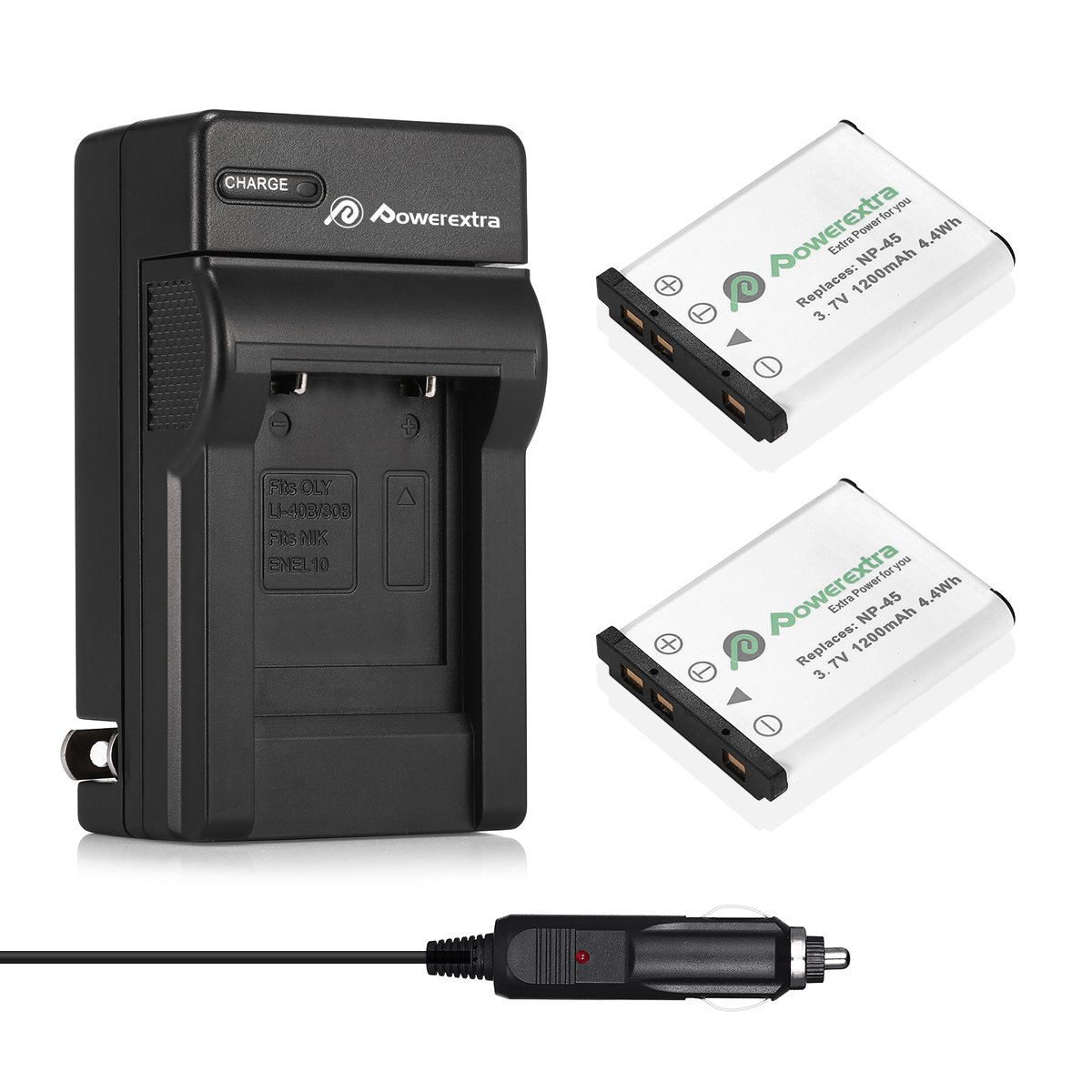 Powerextra 2x Replacement NP-45A NP-45B NP-45S Battery & Charger Compatible with Fujifilm INSTAX Mini 90 Fujifilm FinePix XP20 XP30 XP50 XP60 XP70 XP80 XP90 XP120 XP130 T360 T400 T500 T510 T550 T560