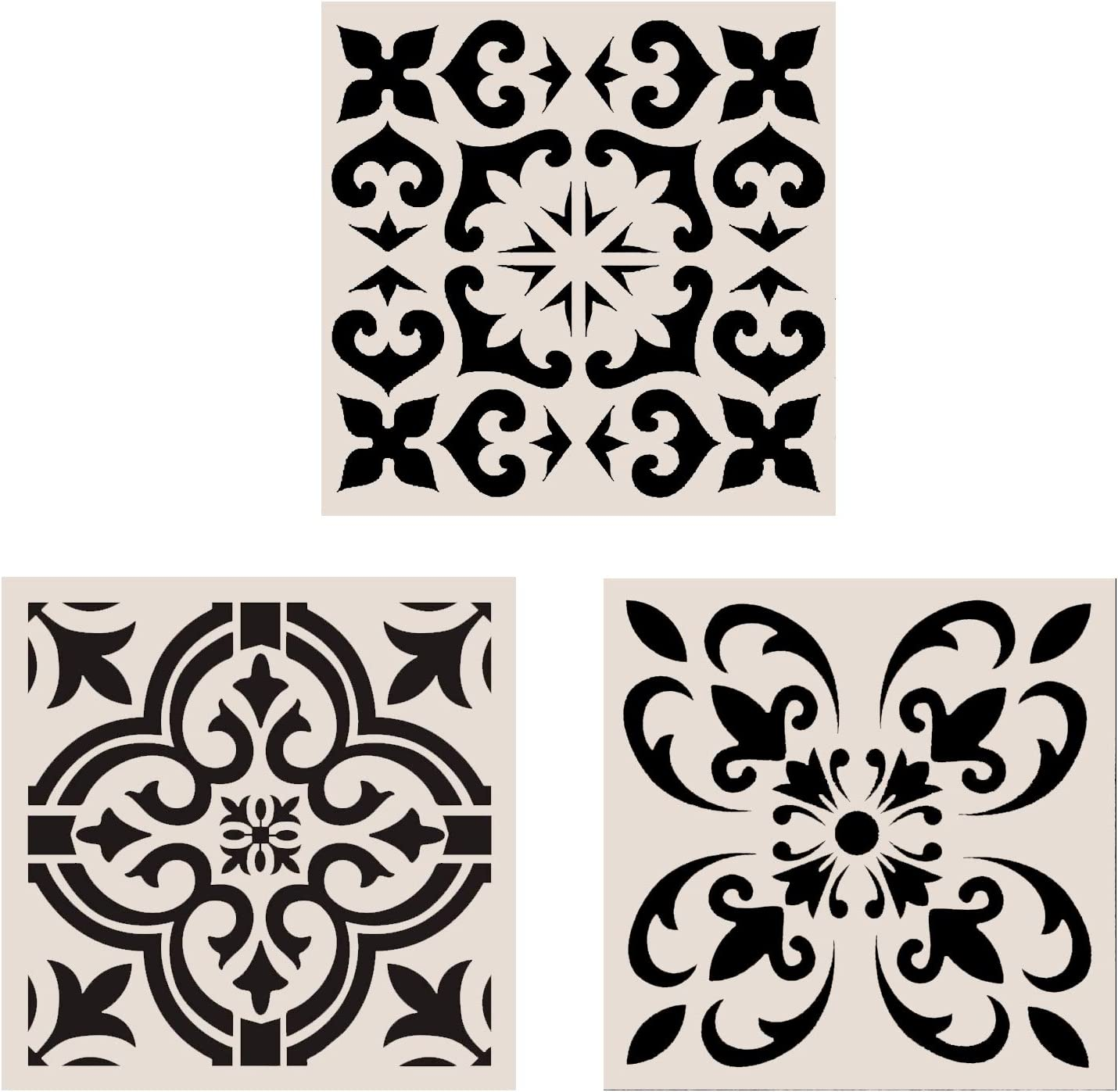 Lindin 3PCS Tile Stencil 12x12 Inch - Large Stencils Painting for Floor Wall Furniture Fabric Wood - Reusable Art Mandala Stencils Painting (Style 2)