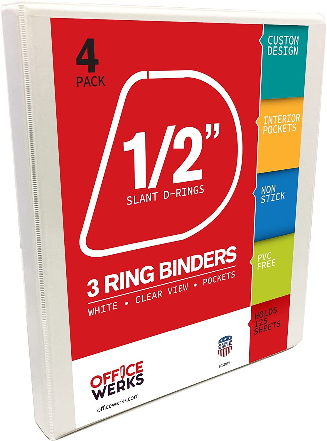 3 Ring Binders, 0.5 Inch Slant-D Rings, White, 4 Pack, Clear View, Pockets : Office Products