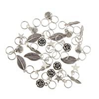 MagiDeal 35pcs Hair Ring Braid Rings Hair Loops Clips 6Styles Accessories - Alloy Feather Shell Star Leaf Loops Flower
