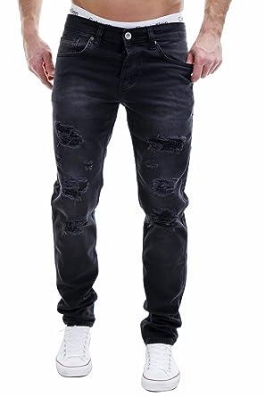 MERISH 5-Pocket Denim Herren Jeans Destroyed Patched Look Slim Fit Modell  J2212: Amazon.de: Bekleidung