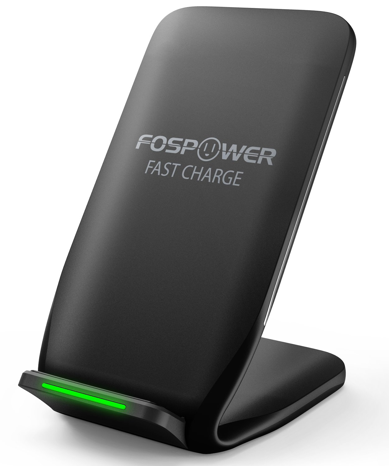 Qi Wireless Charger, FosPower 2-Coil Qi Wireless Fast Charging Phone Stand (AC Adapter Not Included) Compatible with iPhone X/8 Plus/8, Galaxy S9 Plus/S9/Note 9, Google Pixel 3 XL/3, LG V30/G6 FOSCHR-2368
