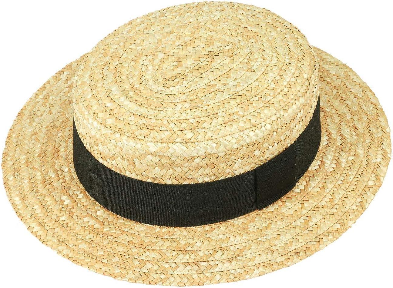 61 cm Natural Made in Italy Verano Marinero Sombreros con Banda Grosgrain Primavera//Verano Lipodo Sombrero de Paja Canotier Mujer//Hombre