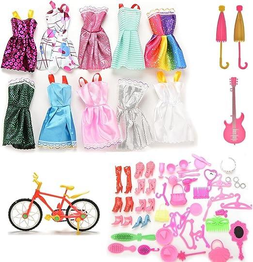 Accesorios para muñecas Barbie de CosCoX, 64 unidades en total: 10 ...