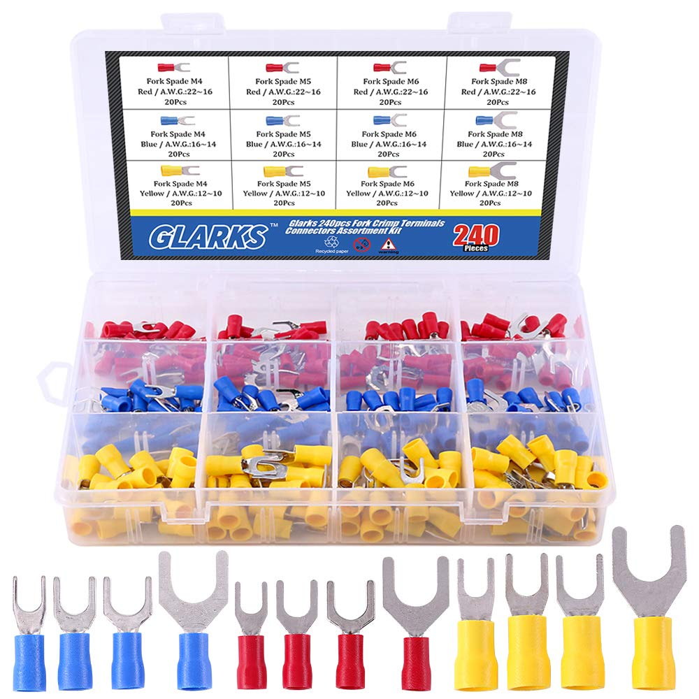 Glarks 240pcs 22-16/16-14/12-10 Gauge Fork Spade Quick Splice Crimp Terminals Connectors Assortment Kit