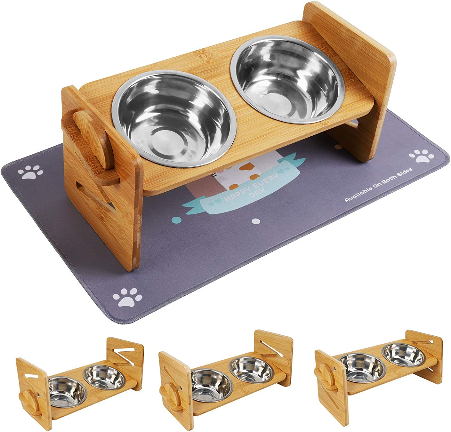 Upgrade Raised Pet Bowl for Cats and Small Dogs, Adjustable Elevated Dog Cat Food and Water Bowl Stand Feeder with 2 Stainless Steel Bowls and Cat Bowl Mat