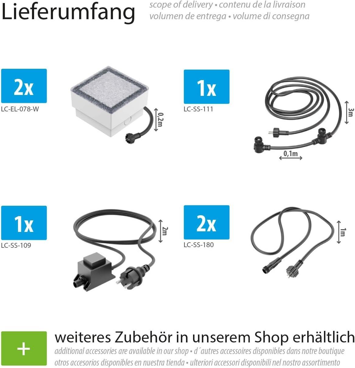 ledscom.de LED Pflaster-Stein Gorgon Boden-Einbauleuchte für außen, 10x10cm, 12V, kalt-weiß 12er Set 2er-Set