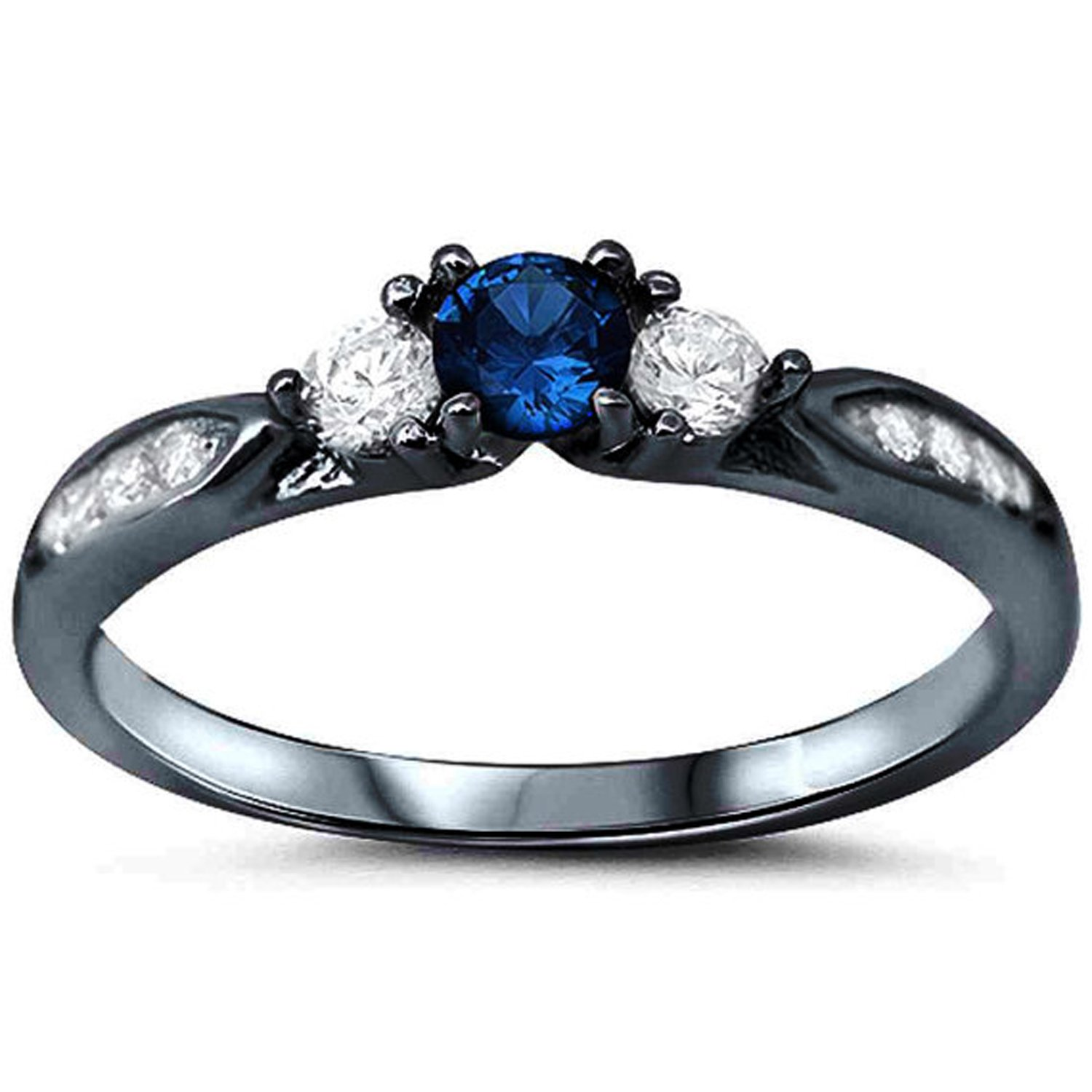 925 Sterling Silver Black Tone Rhodium Plated Ring, Round Simulated Blue Sapphire with Clear CZ Accent, Size-7