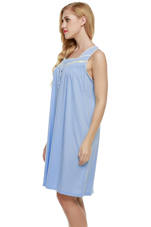 L amore Nightgown Womens Comfort Cotton Sleeveless Sleepwear Sleepshirts XS- XXL at Amazon Women s Clothing store  812cd0e29