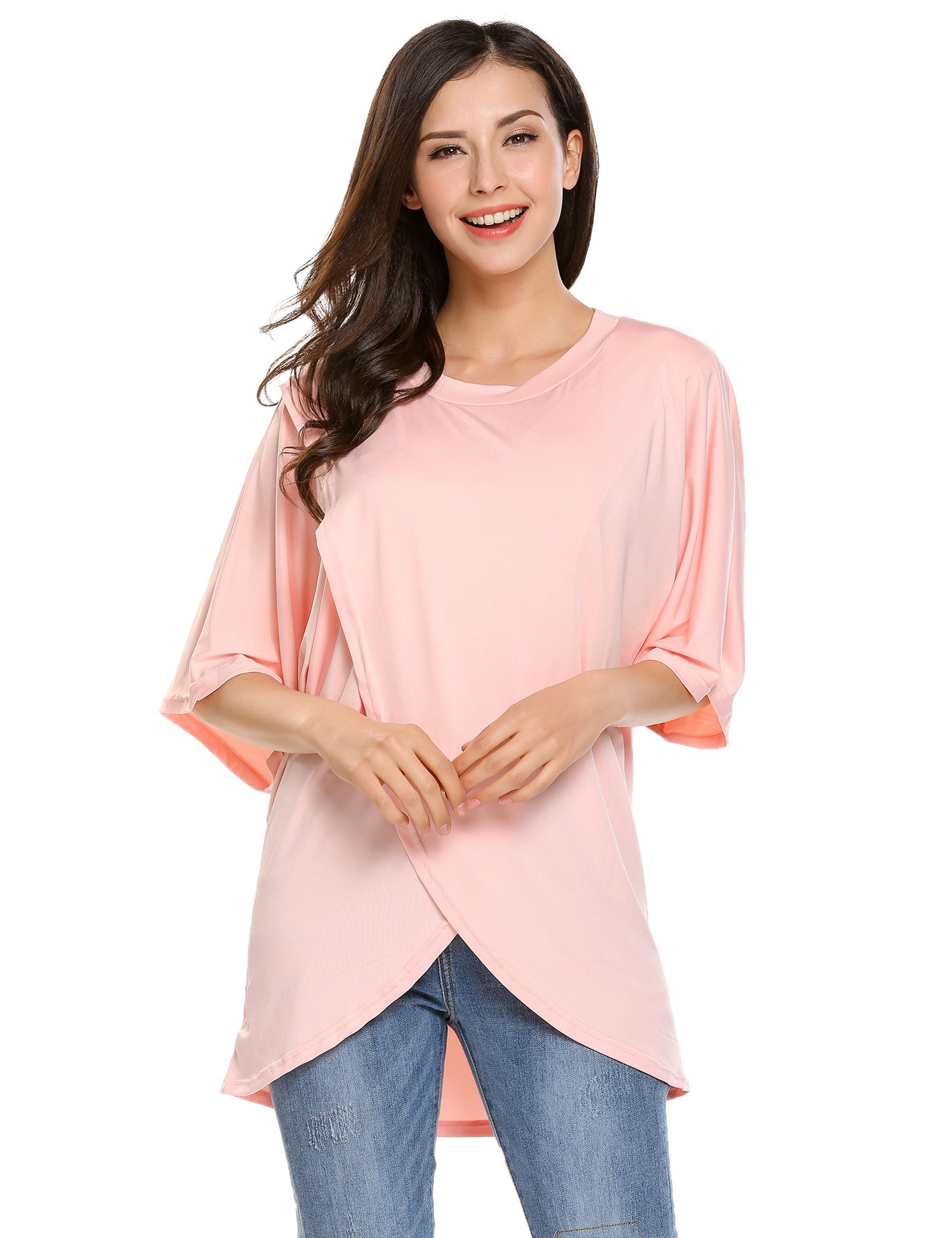 Beyove Casual Women Round Neck 1/2 Sleeve T Shirt Crossover Cotton Irregular Hem Blouse Tops(Nude,XL) by Beyove