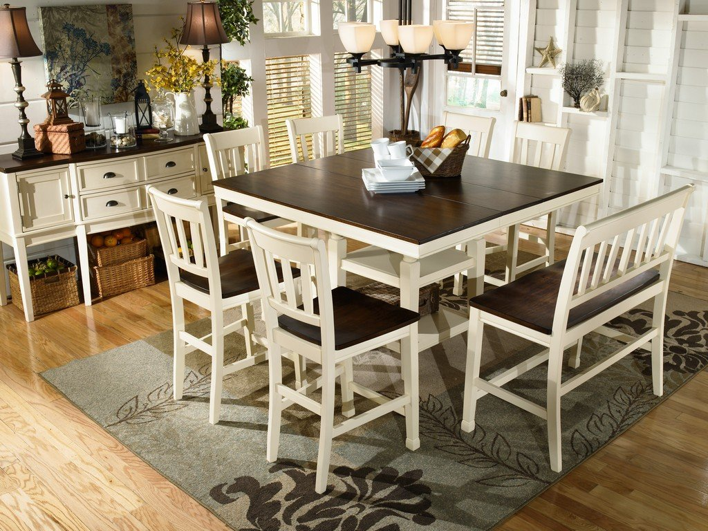 Amazon.com   Ashley Furniture Signature Design   Whitesburg Dining Room  Table   Counter Height   Vintage Casual With Built In Shelving    Brown/Cottage White ...