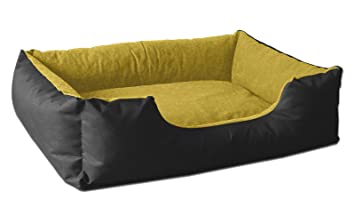 BedDog LUPI colchón para Perro S hasta XXXL, 24 Colores, Cama para Perro, sofá para Perro, Cesta para Perro, S Negro/Amarillo