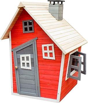 Caseta juegos niños infantil de madera casita para jardín jugar exterior ventanas: Amazon.es: Juguetes y juegos