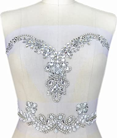 Handmade Beaded V Neck Sequin Sew On Neckline Rhinestone Crystal Trim Bridal Applique Design Patch Sewing For Wedding Dresses Diy Belt Decoration Silver Kitchen Dining