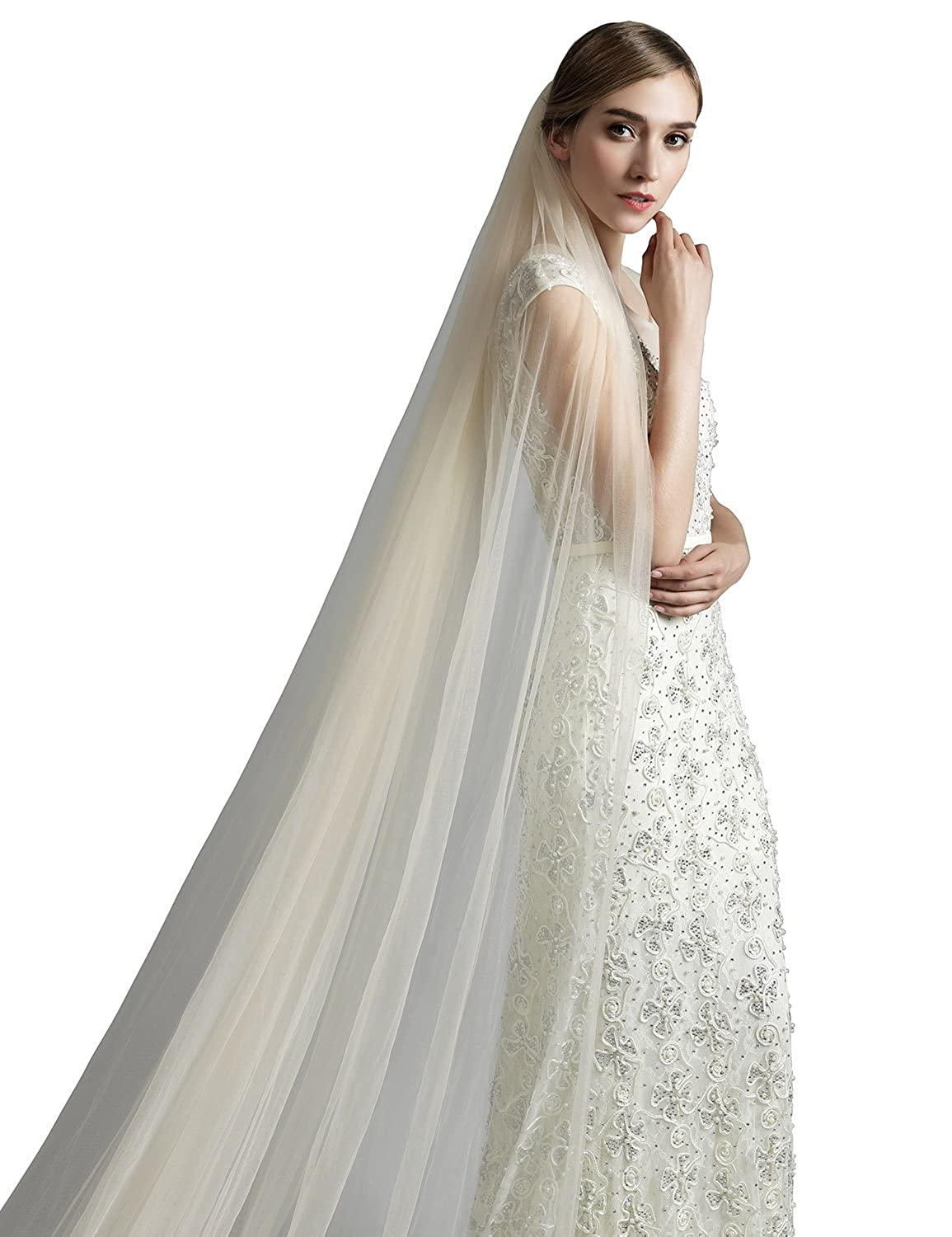 Sarahbridal Womens Soft Tulle Chapel Cathedral Bridal Veils With Comb Long Wedding Veil 11059