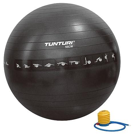 Tunturi-Fitness 14Tusfu287 Balón Suizo, Unisex Adulto, Negro, 55 ...